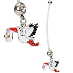Dangling Stork Maternity Belly Button Ring image