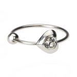 Heart Nose Hoop Ring Clear - 20 Gauge image