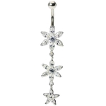 Crystal Flower Titanium Belly Ring image