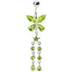 Green Dangling Butterfly Titanium Navel Ring image