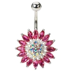 Pink Sunflower Titanium Belly Button Ring image