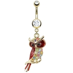 Gold Owl Jewelry Belly Ring image