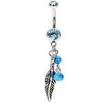 Feather Belly Button Ring Turquois Beads image