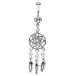 Platinum Belly Button Rings Native American Style image