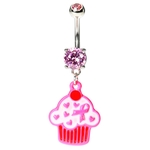 Pink Ribbon Cupcake Belly Button Rings image