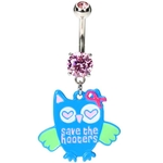 Breast Cancer Awareness Owl Belly Rings image
