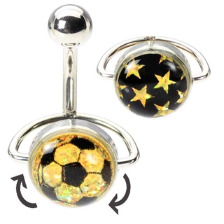 Soccer Ball Spinner Belly Button Ring