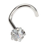 White Gold Nose Ring Screw - Jeweled Star image