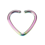 Fake Tragus Clip On Ring - Rainbow Heart image