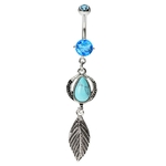Leaf Belly Button Ring - Turquoise Stone image