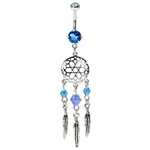 Dream Catcher Navel Ring - Aqua image