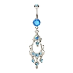Swarovski Aqua Stones Cluster Dangling Chandelier Belly Ring image