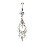 Swarovski Clear Stones Cluster Dangling Chandelier Belly Ring image