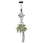 Clear Paved Gem Dangling Palm Tree Belly Ring image