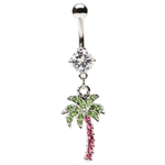 Pink Paved Gem Dangling Palm Tree Belly Ring image
