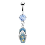 Gem & Stars Blue Dangling Flip Flop Belly Ring image