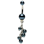 Elegant Black Faux Pearl Dangling Belly Ring image