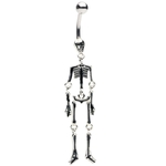 Black Dancing Skeleton Belly Ring image