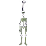 Green Dancing Skeleton Belly Ring image
