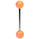 Barbell/Tongue Ring w/ Orange Striped UV Ball image