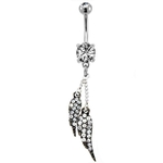 Pave Angel Wings Belly Button Ring - Gunmetal image