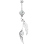 Angel Wings Dangling Belly Ring - Silver image