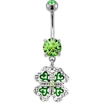 Four Leaf Clover Belly Ring - Clear Gem Shamrock image
