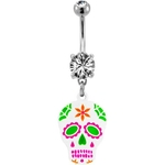 Sugar Skull Belly Button Ring - Pink and Green image