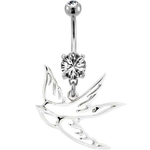 Sparrow Belly Button Ring - Tattoo Inspired image