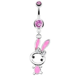 Cute Bunny Belly Button Ring - Pink image