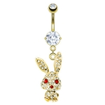 Paved Bunny Belly Ring - Gold Plated image