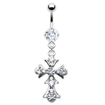 Gothic Cross Belly Button Ring - Clear image