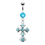 Aqua Gem Cross Belly Ring image