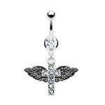 Winged Cross Belly Button Ring image