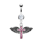 Angel Wings Cross Belly Ring - Pink image