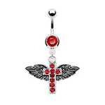Antique Wings and Cross Navel Ring - Red image