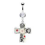 Flower CZ Cross Belly Ring image