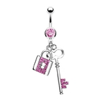Pink Gem Key and Lock Belly Button Ring image