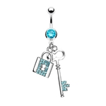 Key and Lock Dangling Belly Ring - Aqua image
