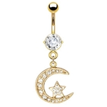 Gold Plated Moon and Star Belly Button Ring image