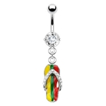 Rasta Gem Flip Flop Belly Ring image