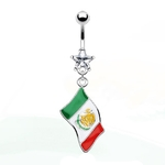 Flag of Mexico Belly Ring image