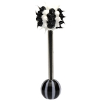 Black Striped Spikey Koosh Ball Barbell/Tongue Ring image