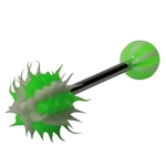 Green Striped Spikey Koosh Ball Barbell/Tongue Ring image