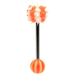 Orange Striped Spikey Koosh Ball Barbell/Tongue Ring image