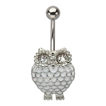 White Owl Belly Button Ring image