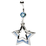Aqua Multi-Gem Star Dangling Belly Button Ring image
