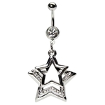 Clear Multi-Gem Star Dangling Belly Button Ring image
