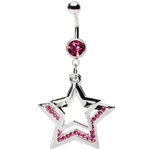Pink Multi-Gem Star Dangling Belly Button Ring image