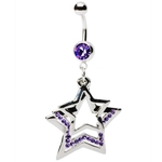 Purple Multi-Gem Star Dangling Belly Button Ring image